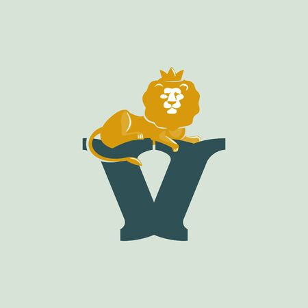 V letter logo with lying lion. Vector serif font perfect for premium labels, vintage posters and real estate identity, etc.