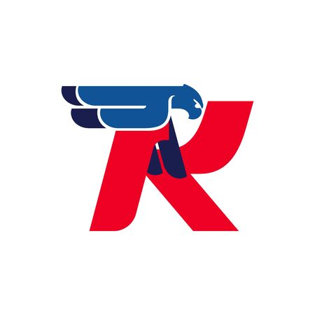 K letter logo with flying eagle. Vector oblique font perfect for sport labels, army posters and fast delivery identity, etc.