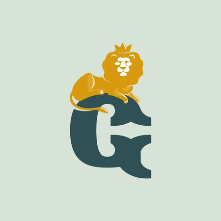G letter logo with lying lion. Vector serif font perfect for premium labels, vintage posters and real estate identity, etc.