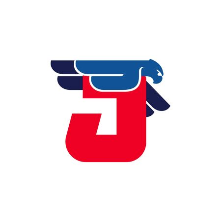 J letter logo with flying eagle. Vector oblique font perfect for sport labels, army posters and fast delivery identity, etc.