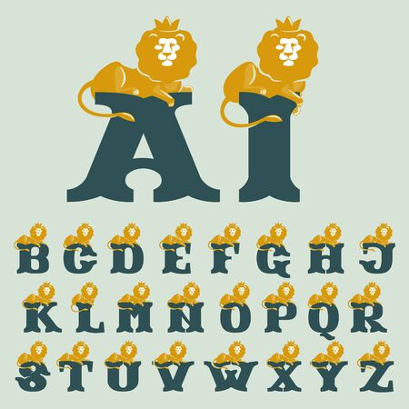 Alphabet with lying lion. Vector serif font perfect for premium labels, vintage posters and real estate identity, etc.