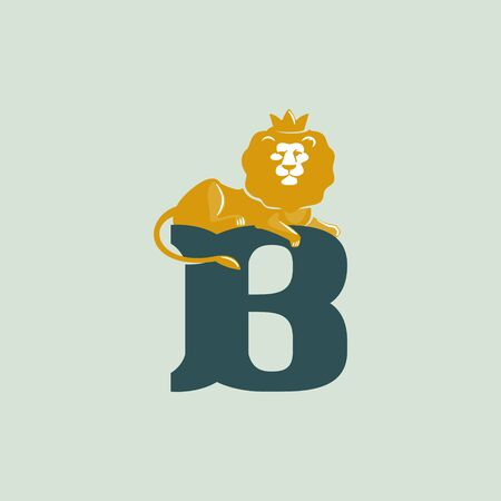 B letter logo with lying lion. Vector serif font perfect for premium labels, vintage posters and real estate identity, etc.