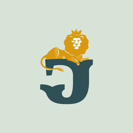 J letter logo with lying lion. Vector serif font perfect for premium labels, vintage posters and real estate identity, etc.