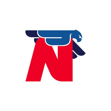 N letter logo with flying eagle. Vector oblique font perfect for sport labels, army posters and fast delivery identity, etc. Ilustração