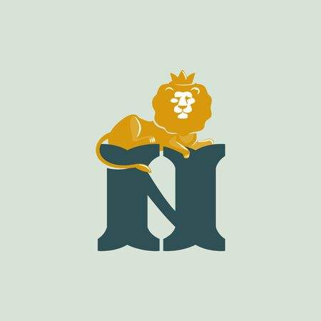 N letter logo with lying lion. Vector serif font perfect for premium labels, vintage posters and real estate identity, etc.