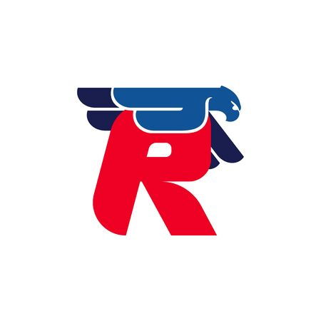 R letter logo with flying eagle. Vector oblique font perfect for sport labels, army posters and fast delivery identity, etc. Illusztráció