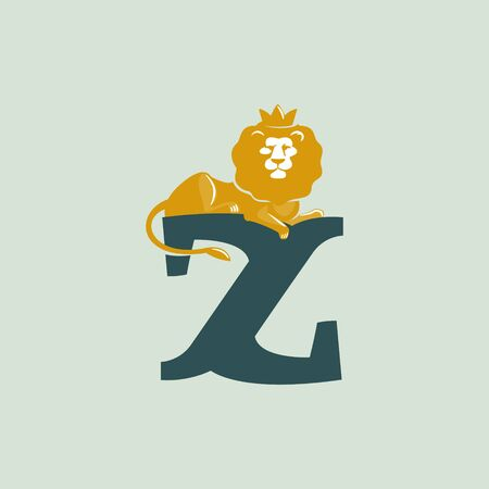Z letter logo with lying lion. Vector serif font perfect for premium labels, vintage posters and real estate identity, etc. Ilustração