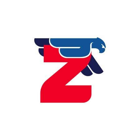 Z letter logo with flying eagle. Vector oblique font perfect for sport labels, army posters and fast delivery identity, etc. Ilustração