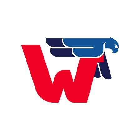 W letter logo with flying eagle. Vector oblique font perfect for sport labels, army posters and fast delivery identity, etc.