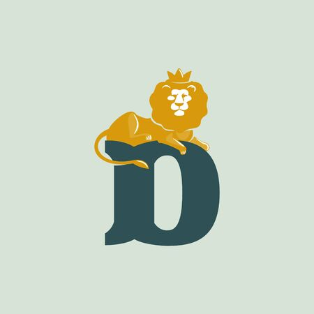 D letter logo with lying lion. Vector serif font perfect for premium labels, vintage posters and real estate identity, etc.