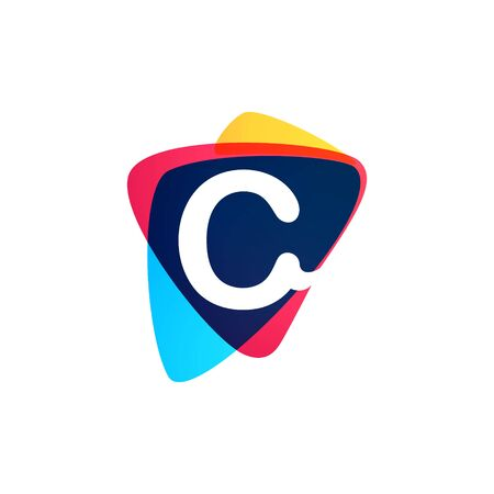 Letter C in dynamic triangle intersection shape. Vector icon perfect for sport labels, delivery posters and vibrant identity, etc.