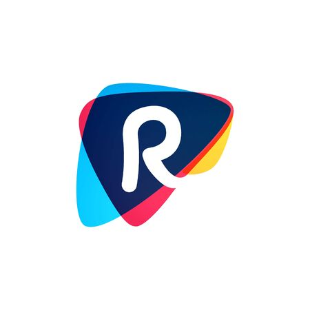 Letter R  in dynamic triangle intersection shape. Vector icon perfect for sport labels, delivery posters and vibrant identity, etc.