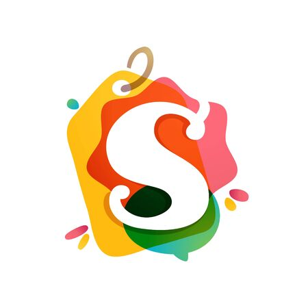 S letter  with Sale tag icon. Watercolor overlay style. Negative space font. Perfect typeface for retail identity, showcase print, shop posters, etc.