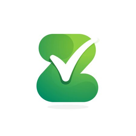 Z letter green icon with check mark inside. Perfect for approve labels, quality print, verification posters etc.