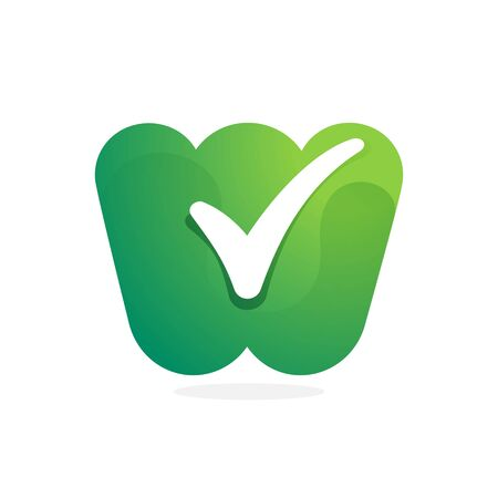 W letter green icon with check mark inside. Perfect for approve labels, quality print, verification posters etc.