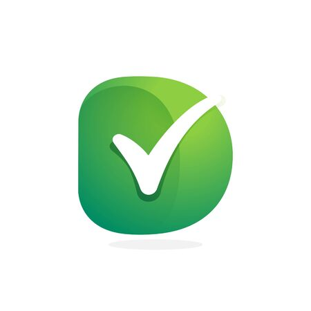 D letter green icon with check mark inside. Perfect for approve labels, quality print, verification posters etc.