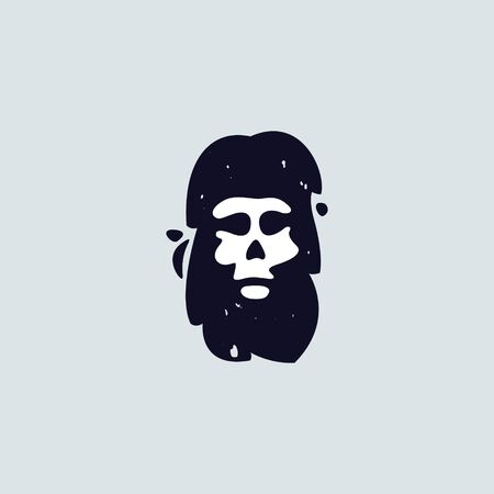Letter I logo with skull face. Hand written shaggy grunge style. Perfect typeface for horror labels, fear banner, biker posters etc.