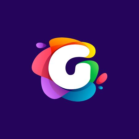 Letter G logo at colorful multicolor gradient splash. Perfect font for media labels, nightlife print, cartoon posters etc.