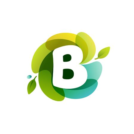 Letter B ecology logo on swirling overlapping shape. Vector icon perfect for environment labels, landscape posters and garden identity, etc.