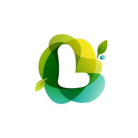 Letter L ecology logo on swirling overlapping shape. Vector icon perfect for environment labels, landscape posters and garden identity, etc.