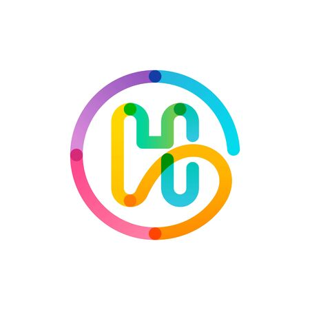H letter in a rainbow gradient circle. Impossible one line style. Perfect colorful icon for digital labels, science print, modern advertising, etc.