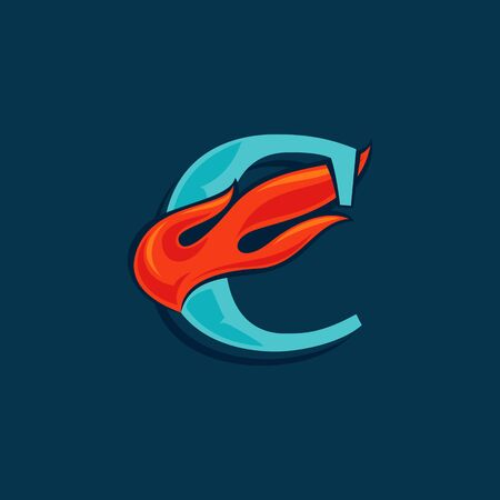 Letter C with fast speed fire. Vintage serif font with line shadow. Vector icon perfect for sportswear labels, race posters, victory identity, etc.