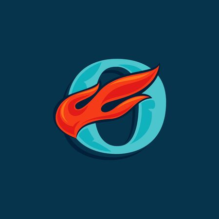 Letter O with fast speed fire. Vintage serif font with line shadow. Vector icon perfect for sportswear labels, race posters, victory identity, etc.
