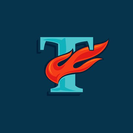 Letter T with fast speed fire. Vintage serif font with line shadow. Vector icon perfect for sportswear labels, race posters, victory identity, etc.
