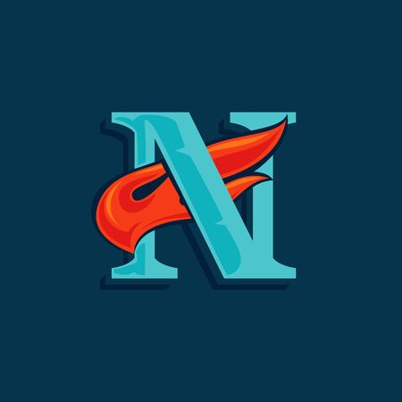 Letter N with fast speed fire. Vintage serif font with line shadow. Vector icon perfect for sportswear labels, race posters, victory identity, etc.