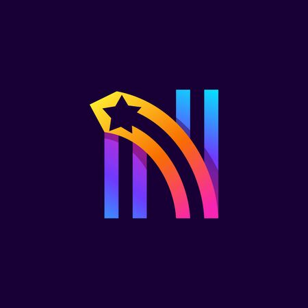 Letter N logo with star inside. Vector parallel lines icon. Perfect font for multicolor labels, space print, nightlife posters etc.