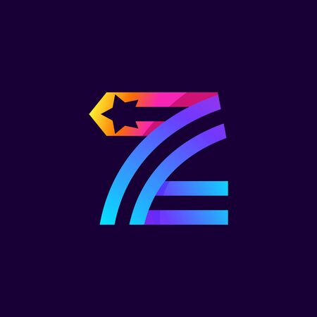 Letter Z logo with star inside. Vector parallel lines icon. Perfect font for multicolor labels, space print, nightlife posters etc.