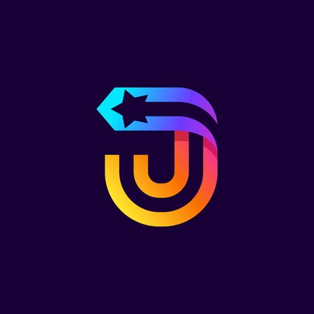 Letter J logo with star inside. Vector parallel lines icon. Perfect font for multicolor labels, space print, nightlife posters etc.
