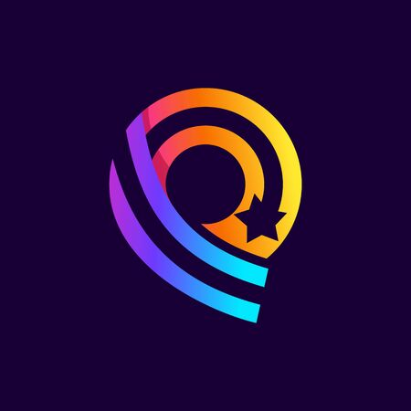 Letter Q logo with star inside. Vector parallel lines icon. Perfect font for multicolor labels, space print, nightlife posters etc.