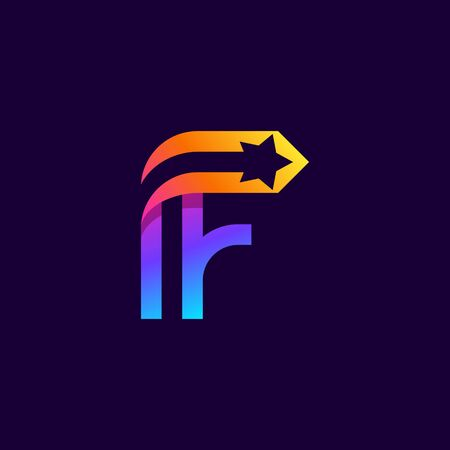 Letter F logo with star inside. Vector parallel lines icon. Perfect font for multicolor labels, space print, nightlife posters etc. 向量圖像
