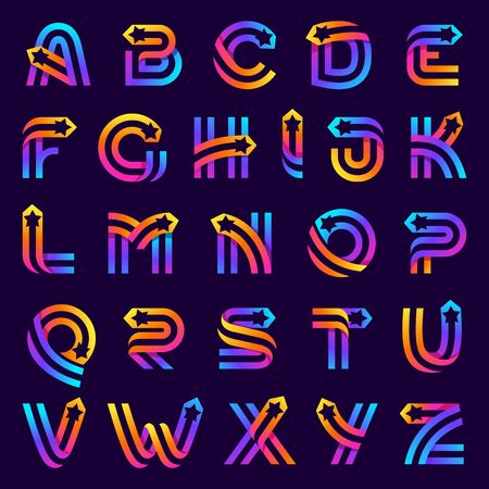 Alphabet with star inside. Vector parallel lines icon. Perfect font for multicolor labels, space print, nightlife posters etc.