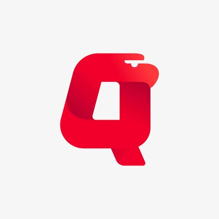 Q letter logo with eagle head silhouette. Vector italic font perfect for sport identity, luxury posters and real estate company, etc.