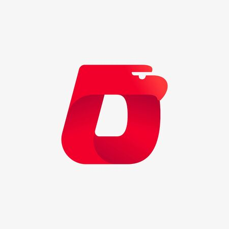 D letter logo with eagle head silhouette. Vector italic font perfect for sport identity, luxury posters and real estate company, etc. Vectores