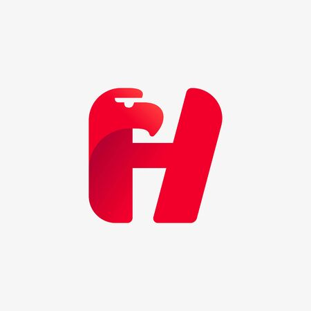 H letter logo with eagle head silhouette. Vector italic font perfect for sport identity, luxury posters and real estate company, etc. Vectores