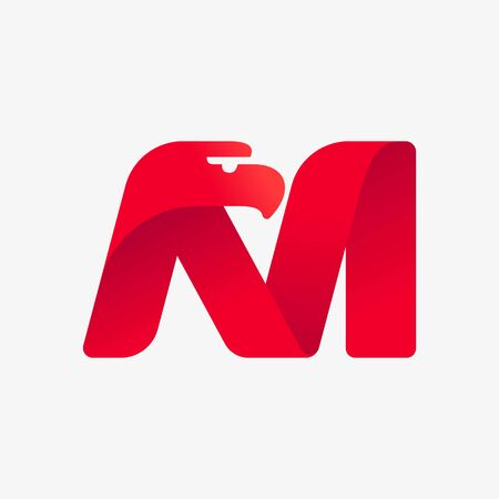 M letter logo with eagle head silhouette. Vector italic font perfect for sport identity, luxury posters and real estate company, etc.