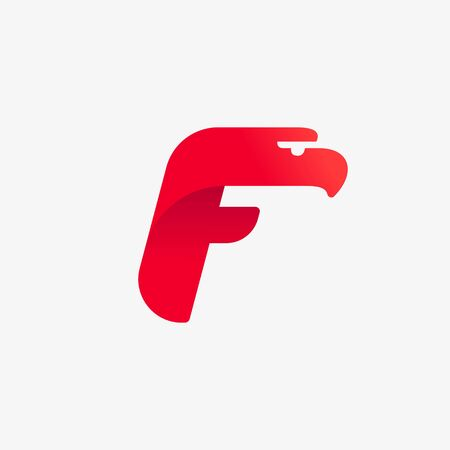 F letter logo with eagle head silhouette. Vector italic font perfect for sport identity, luxury posters and real estate company, etc.
