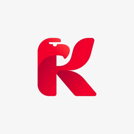K letter logo with eagle head silhouette. Vector italic font perfect for sport identity, luxury posters and real estate company, etc.