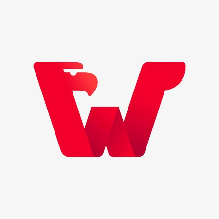 W letter logo with eagle head silhouette. Vector italic font perfect for sport identity, luxury posters and real estate company, etc.