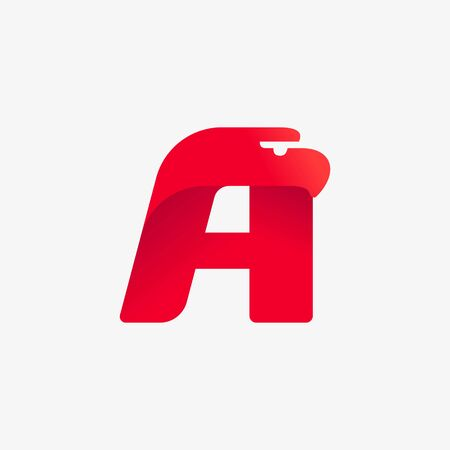 Letter A logo with eagle head silhouette. Vector italic font perfect for sport identity, luxury posters and real estate company, etc.