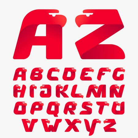Alphabet with eagle head silhouette. Vector italic font perfect for sport identity, luxury posters and real estate company, etc.