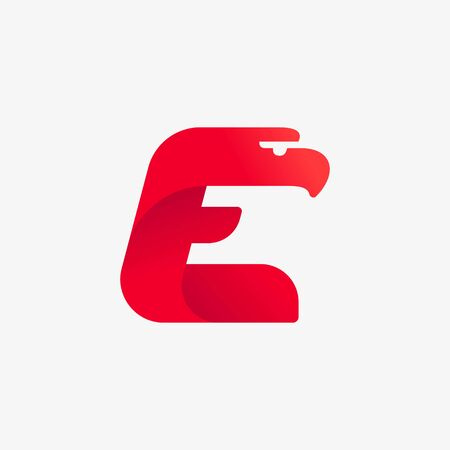 E letter logo with eagle head silhouette. Vector italic font perfect for sport identity, luxury posters and real estate company, etc.