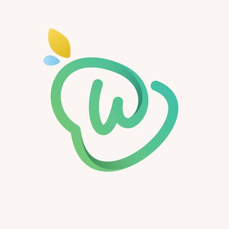 W letter green line logo. Vector icon perfect for ecology labels, environment posters and agriculture identity, etc.