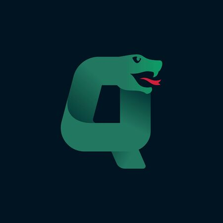 Q letter logo with snake head silhouette. Vector font perfect for sport identity, danger posters and exotic company, etc. 向量圖像