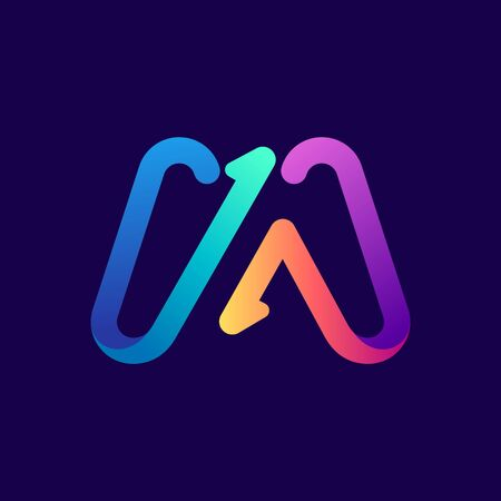 M letter logo with arrows. Vector bright gradient font for sport labels, bets headlines, multimedia posters, business cards etc.