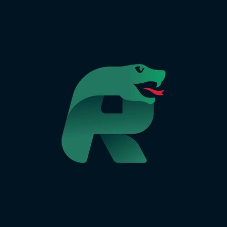 R letter logo with snake head silhouette. Vector font perfect for sport identity, danger posters and exotic company, etc. Logo