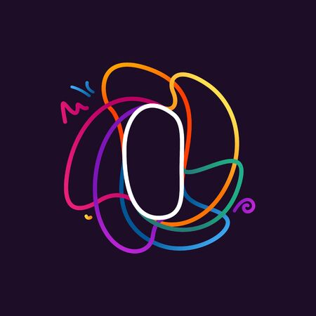 Letter I neon line colorful logo. Great vivid icon for digital labels, science print, nightlife advertising, etc.
